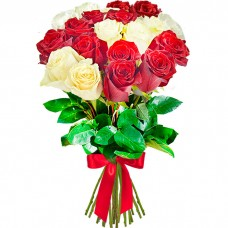 Букет 19 роз красных и белых